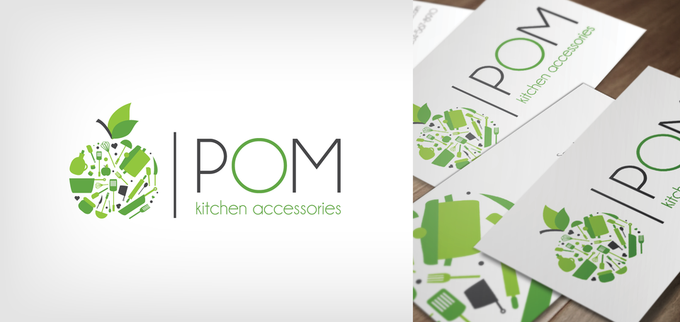 POM Kitchen Accessories logo and business card mockup