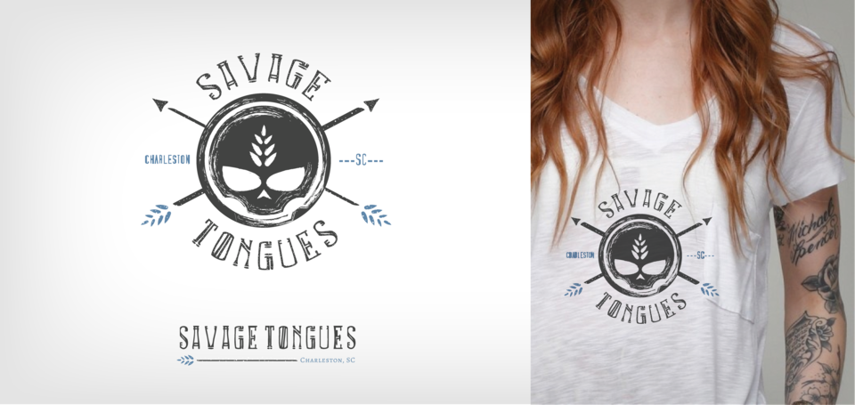 Savage Tongues logo and t-shirt mockup